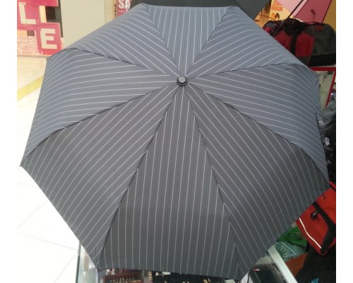 """Зонт """"Три Слона"""" мужской №507/8-L, купол D=104 см, 8 спиц, темно-серый/тонкие полосы-серые- черные, ручка крюк кожа"""