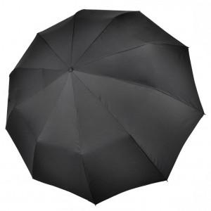 """Зонт """"Три Слона"""" мужской №725-L, купол D=122 см, 10 спиц, черный, ручка крюк кожа, семейный"""